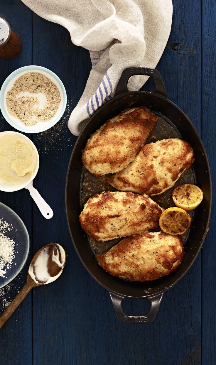 Delicious Parmesan Crusted Chicken recipe by Hellmann's-instead of using mayo, use greek yogurt! So yummy I bet. Gonna try this tonight!