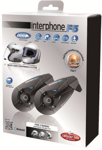 Interphone F5 Stereo Bluetooth Motorcycle Headset with 6-Way Intercom Conference and FM (Twin Pack) by Interphone. $449.99. Amazon.com                The Interphone F5 from Cellular Line is the first Bluetooth Intercom to be released with advanced intercom features. Up to 6 F5's can be connected to extend intercom range to up to a mile. The frustration of hearing mysterious beep tones has been eliminated with the Text to Speech (TTS) feature of the F5. TTS gives audib...