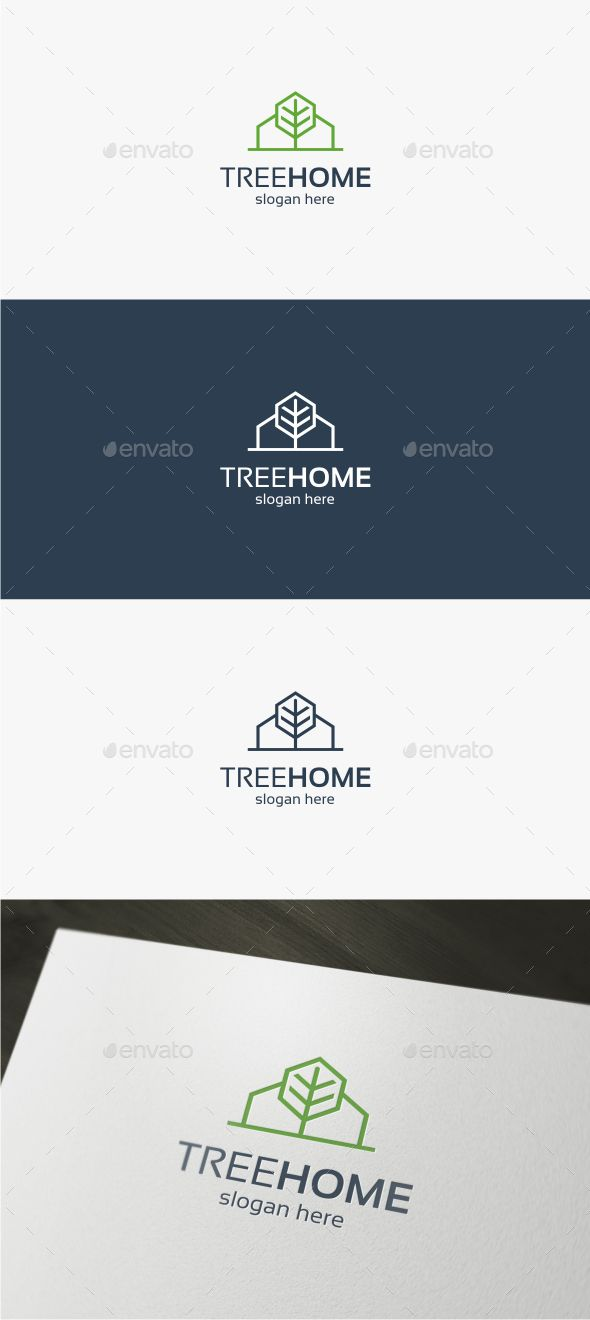 Tree Home  Logo Design Template Vector #logotype Download it here:  http://graphicriver.net/item/tree-home-logo-template/13833618?s_rank=1659?ref=nesto