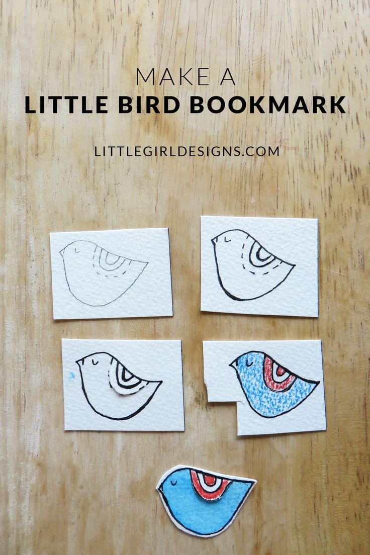How to Make a Little Bird Bookmark - Have a scrap of watercolor paper? You can whip up several of these sweet bookmarks in no time at all. Makes a great gift for a book lover! via littlegirldesigns.com