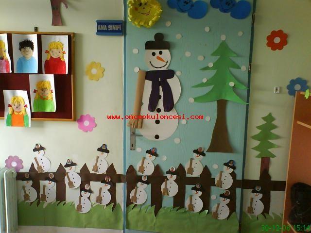 Tema : kış sınıf kapı süsü..