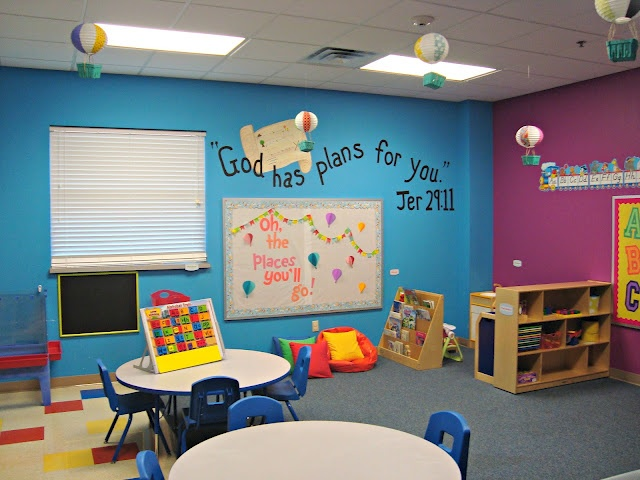 bright preschool classroom including hot air balloons and