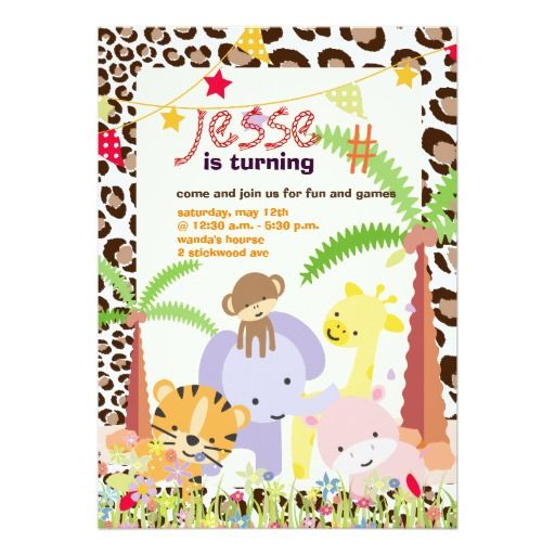 2516 best leopard print birthday theme images on pinterest jungle themepersonalized partyphoto card stopboris Choice Image