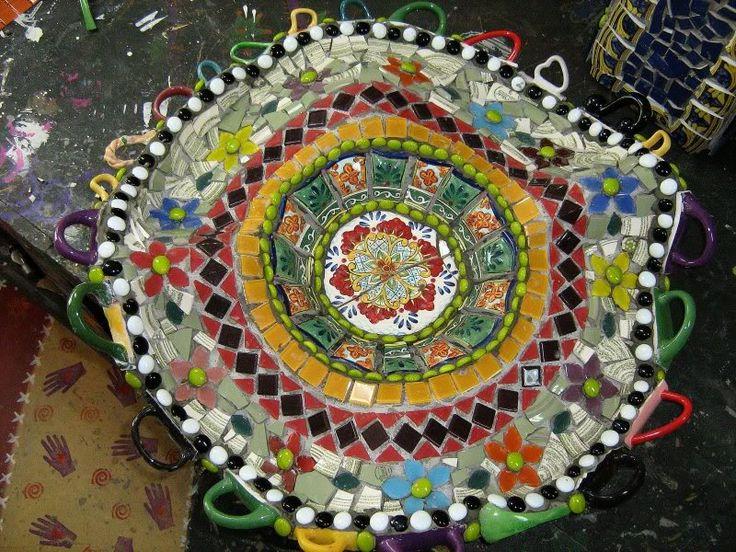 Upside Down Floppy Hat Mosaic Bird Bath - by Slomedown