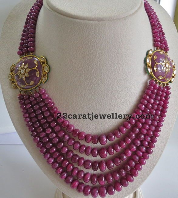 Multiple Rows Ruby Beads Set - Jewellery Designs