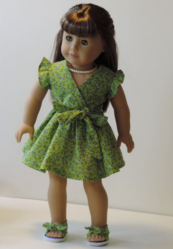 Green frill dress by OneGirlsDream. Made with the Frill Seekers Dress pattern. Find it at http://www.pixiefaire.com/products/frill-seekers-dress-18-doll-clothes. #pixiefaire #frillseekersdress