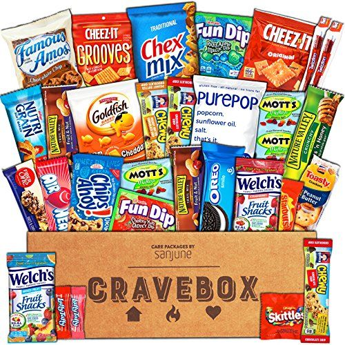 CraveBox - The Classic Care Package - Variety Assortment Bundle of Snacks Candy Chips Chocolate Cookies Granola Bars and More!! (30 Count)