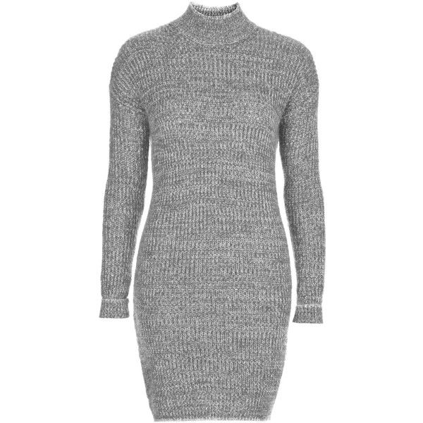 TOPSHOP Roll Neck Jumper Dress ($26) ❤ liked on Polyvore featuring dresses, robes, topshop, grey, chunky knit dress, topshop dresses, grey dress, roll neck dress and gray dress
