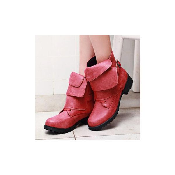 Folding Vamp Design Retro Elegant Comfortable Lace Up Boots ($35) ❤ liked on Polyvore featuring shoes, boots, ankle booties, red, round toe boots, lace up ankle booties, lace-up booties, lace up fold over boots and red lace up boots
