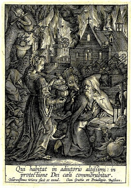 Hieronymus Wierix. 1619 Netherlands. engraving. St. Anthony - a woman - a monster + more monsters. BM by tony harrison, via Flickr