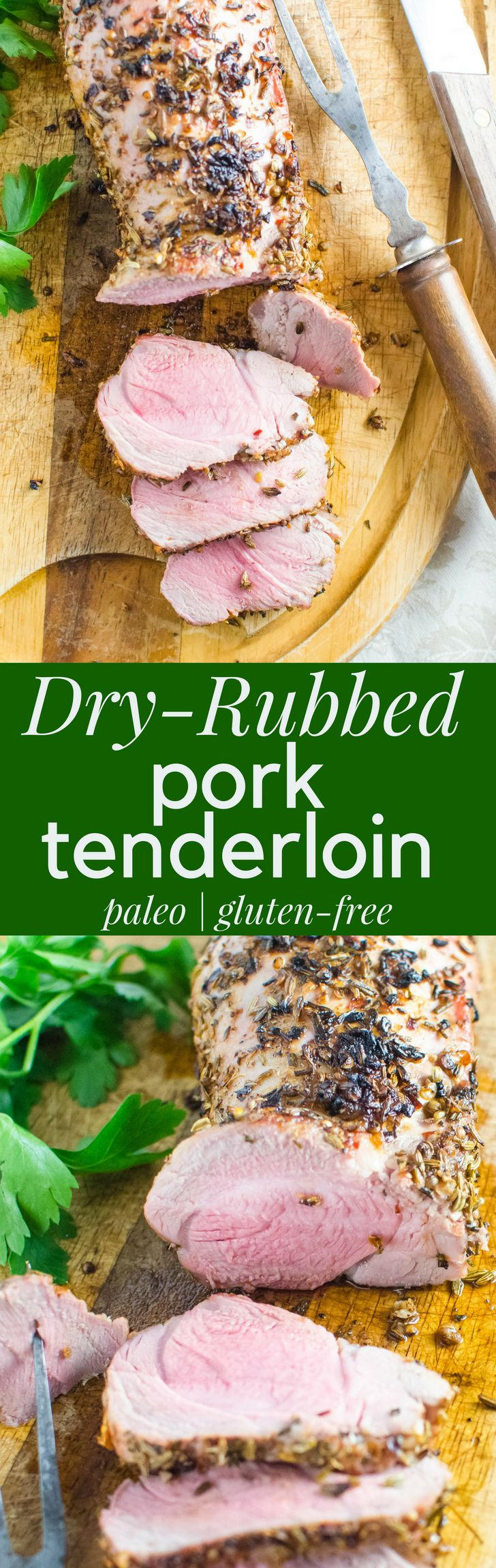 This Dry-Rubbed Pork Tenderloin is the easiest and best recipe for quick pork dinners. The flavorful dry rub with coriander, fennel, red pepper flake and rosemary makes this meal healthy and flavorful. #pork #porktenderloin #tenderloin #grilledpork #porkrub #dryrub #fennel #rosemary #garlic #healthydinners #healthyporkdinner #quickdinners #paleo #lowcarb #glutenfree #bestporktenderloin #porktenderloinrecipe #dryrubrecipe #redpepperflake