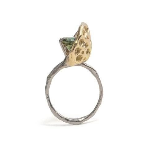 Gold Shield Ring by Luke Maninov Hammond for Beneath the Surface exhibition