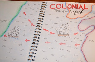 Literacy & Math Ideas: Organizing for Interactive Reading Journals--colonial period map in social studies notebooks
