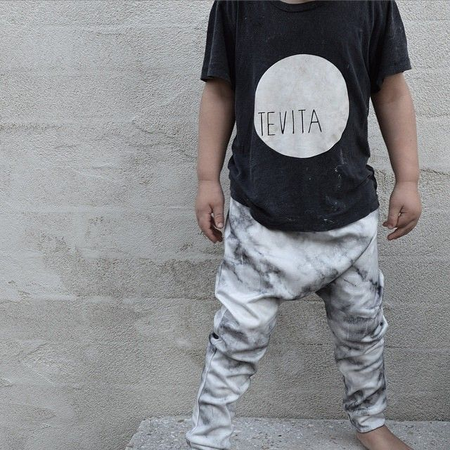 Cute kids clothing/fashion / casual tee / marble pants / surf street winter style / Tevita clothing