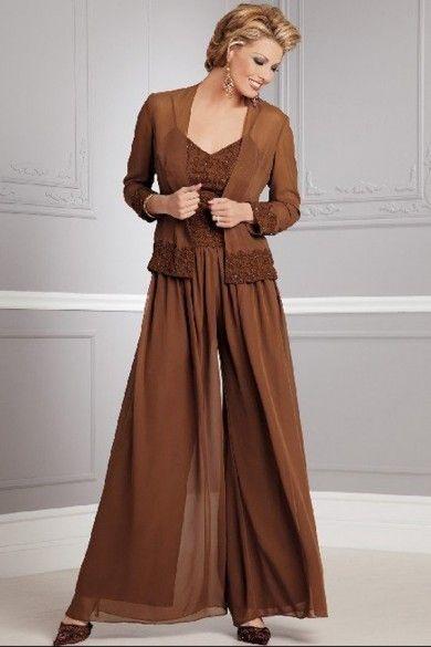 Modelo 2 para el matrimonio Tallas grande puede verlo en http://www.newstyledress.com/mother-of-the-dresses-under-200/khaki-elegant-three-piece-mother-of-the-bride-dress-pants-sets.html