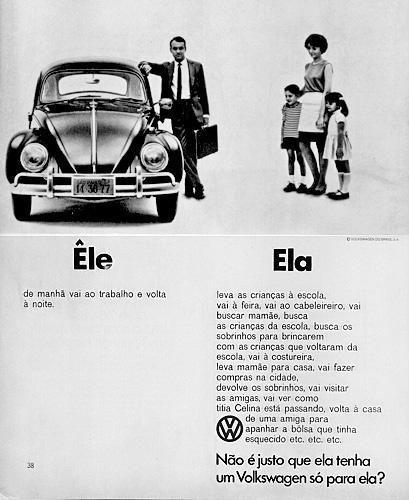 Propaganda do Volkswagen Fusca - Foco na venda de carro para mulheres - Anos 60…