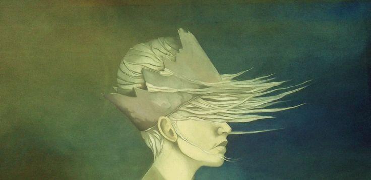 """exit wounds"" detail oil on canvas (120x100cm) by June Michel"