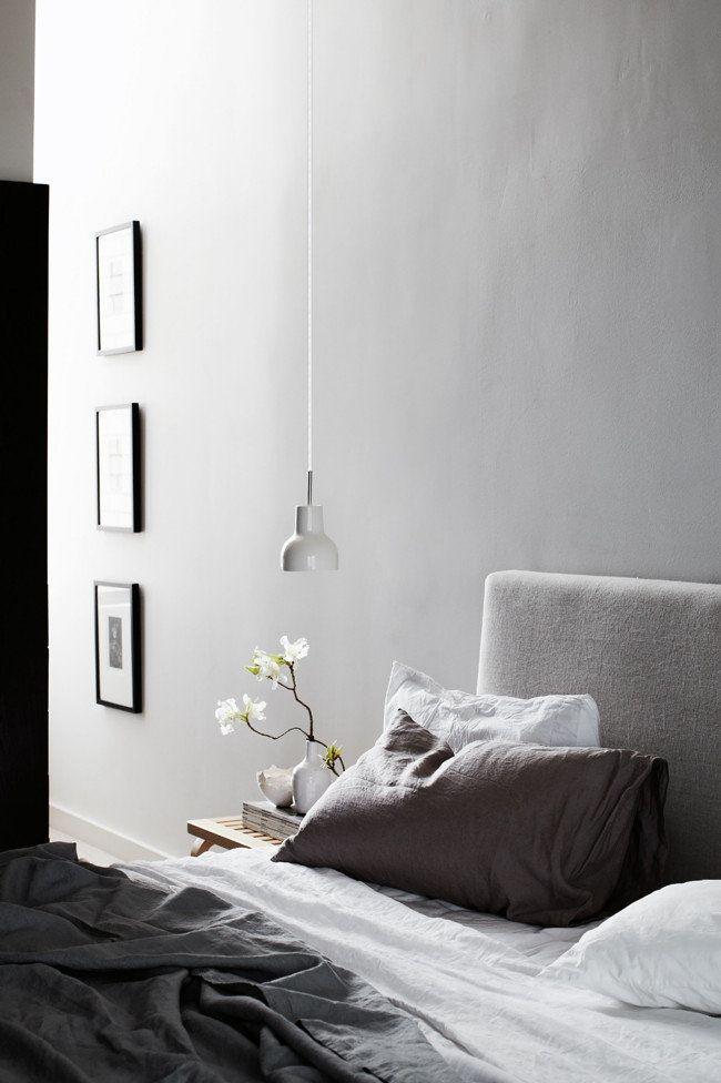 Lovely calming bedroom in grey tones.