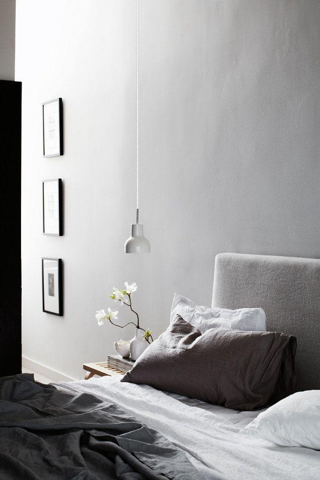 Lovely calming bedroom in grey tones.