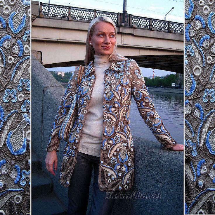Купить Пальто летнее - летнее пальто, ирландское кружево, авторская работа, Вязание крючком, голубой