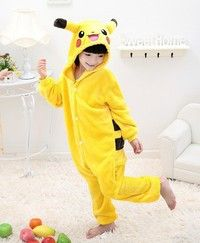 Kids Baby Pikachu Kigurumi Pajamas Pokemon Costume All In Onesie Cosplay Jumpsuit Sleepwear Theme: A