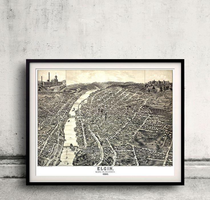 Bird's eye view of the city of Elgin Illinois 1880