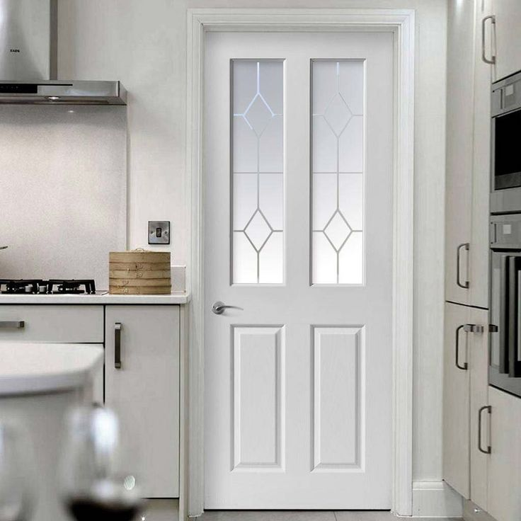 Canterbury Smooth 2 Pane Top Light Door with Etched Safety Glass - Lifestyle Image