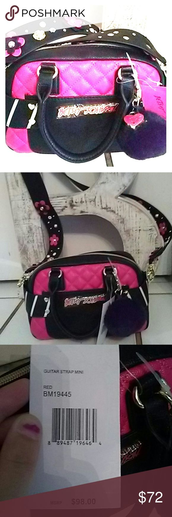 Betsey Johnson Guitar Strap Mini New Guitar strap mini  New with tags $98.00 Excellent awesome very cute and trendy Retro. Boho super adorable  ?? Betsey Johnson Bags Mini Bags