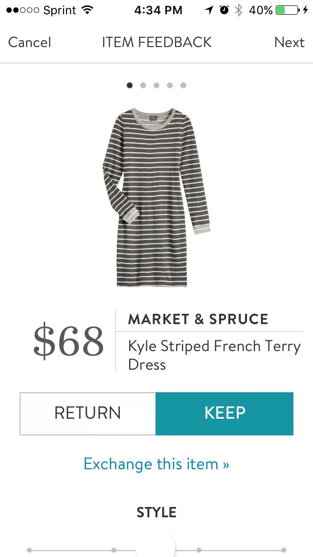 Kyle Striped French Terry Dress by Market & Spruce. His is one of the very first items I pinned 2 years ago when I started Stitch Fix. Happy to get this dress now! A classic style. Very comfy french terry fabric. On the short side so great with tights/leggings and boots. Received in Fix #40. KEPT. Price $68, with keep all discount $51.