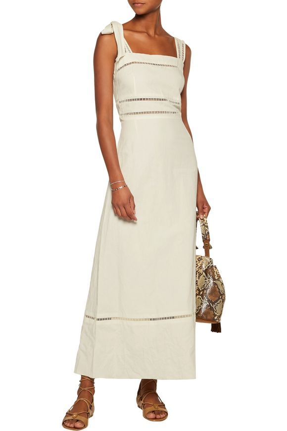 Reign open knit-trimmed linen and cotton-blend maxi dress | ISABEL MARANT | Sale up to 70% off | THE OUTNET