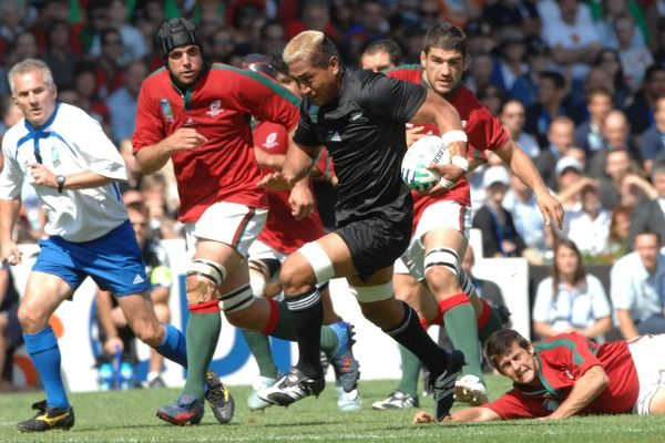 All Blacks forward Jerry Collins against Portugal at the 2007 Rugby World Cup in France.