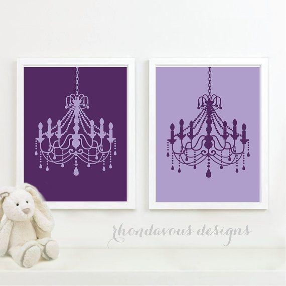 Purple Chandelier Duo - French. Wall. Art. Home. Decor. Baby Girl Room Nursery…