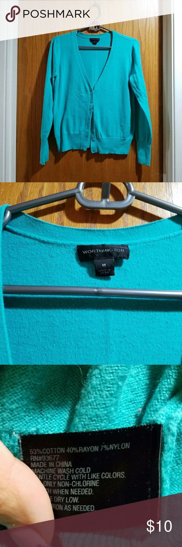 Turquoise Cardigan Good condition has been worn a few times but still in good condition. Worthington Sweaters Cardigans