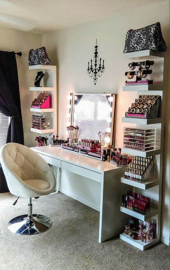 Makeup shelves on either side of desk! Brilliant!!