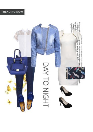 'Day to Night' by me on Limeroad featuring Mid Rise Blue Trousers, Black Pumps with Multi Color Clutches