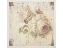Cuadro de madera con dibujo rosa Medidas: 30 * 30*4,5 cm