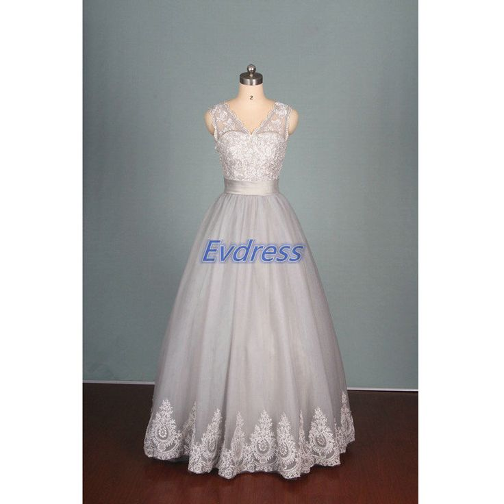 2016 gray tulle and lace wedding gowns hot,cute v neck dress for wedding party in stock,latest simple bridal dresses affordable. by Evdress on Etsy https://www.etsy.com/listing/220351740/2016-gray-tulle-and-lace-wedding-gowns