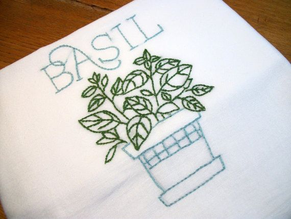 Dish (Tea) Towel With Herb Garden Design Hand Embroidery Flour Sack Dish  Towel Basil Part 94