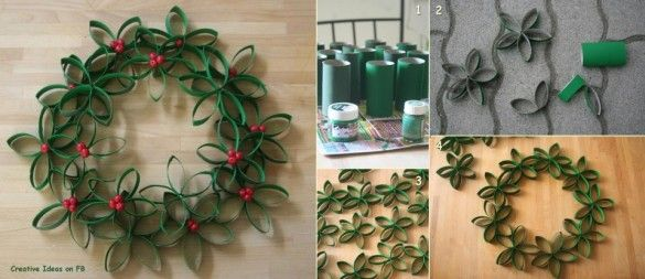 Natal - guirlanda de rolinhos de papel higiênico tingido de verde com miçanga vermelha
