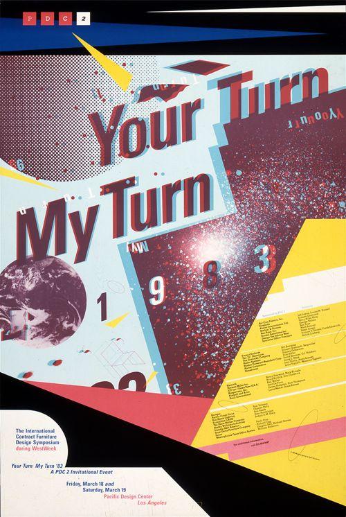 April Greiman( Graphic Designer), Your Turn My Turn 3-D poster, 1983.