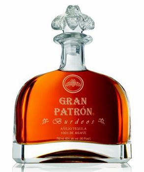 Gran Patron Burdeos - Top 10 Tequilas   Gayot That doesn't look like a tequila! Named after the vintage Bordeaux barrels in which it is racked, this luxurious añejo tequila is triple-distilled and aged for a minimum of twelve months in order to achieve its smooth, full-bodied taste and rich, dark amber hue.   Price: $500