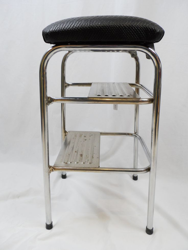 This is the cleverest design for a step stool that I've seen yet. The seat just flips up! Strong and stable, and covered in a fabulous embossed leather. Available.