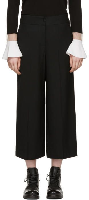 Kuho Black Cropped Wide-Leg Trousers