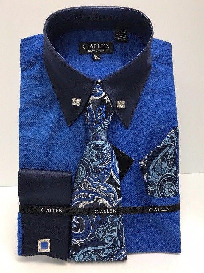 C. Allen Mens Dress Shirt Combo Pack Royal Blue French Cuffs Cufflinks 15.5-22.5 #CAllen #FrenchCuff