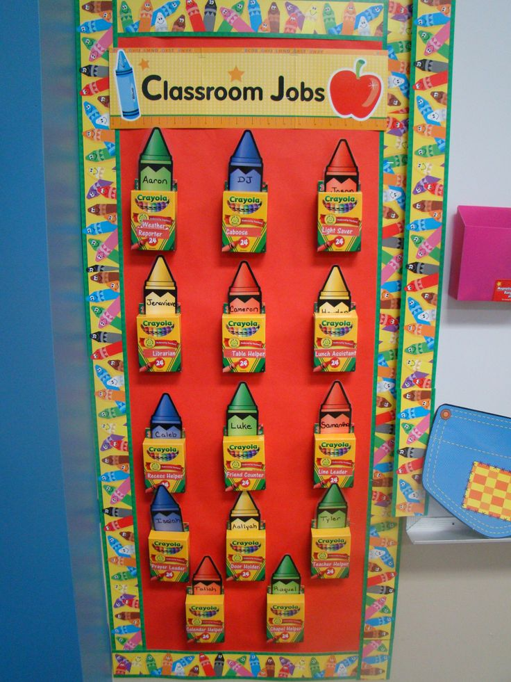 Classroom jobs  Using crayola boxes.