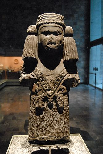 Chalchiuhtlicue (pronounced chal-chee-OOT-lee-kway) is the Aztec Goddess of all running water, including rain. She also ruled over fertility, as water was known to bring life to plants. She is the wife of the rain God Tlaloc.