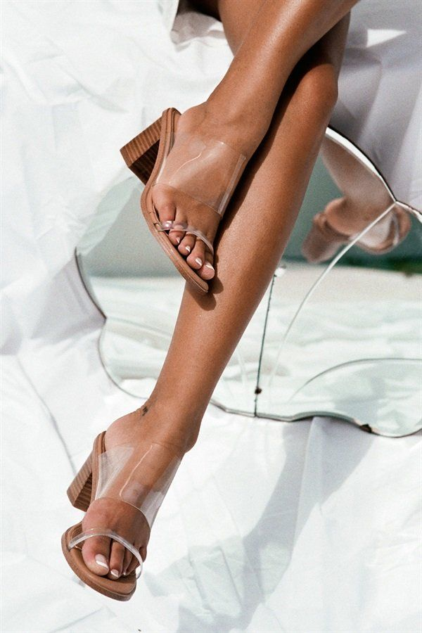 The on-trend Transparent Mules are the