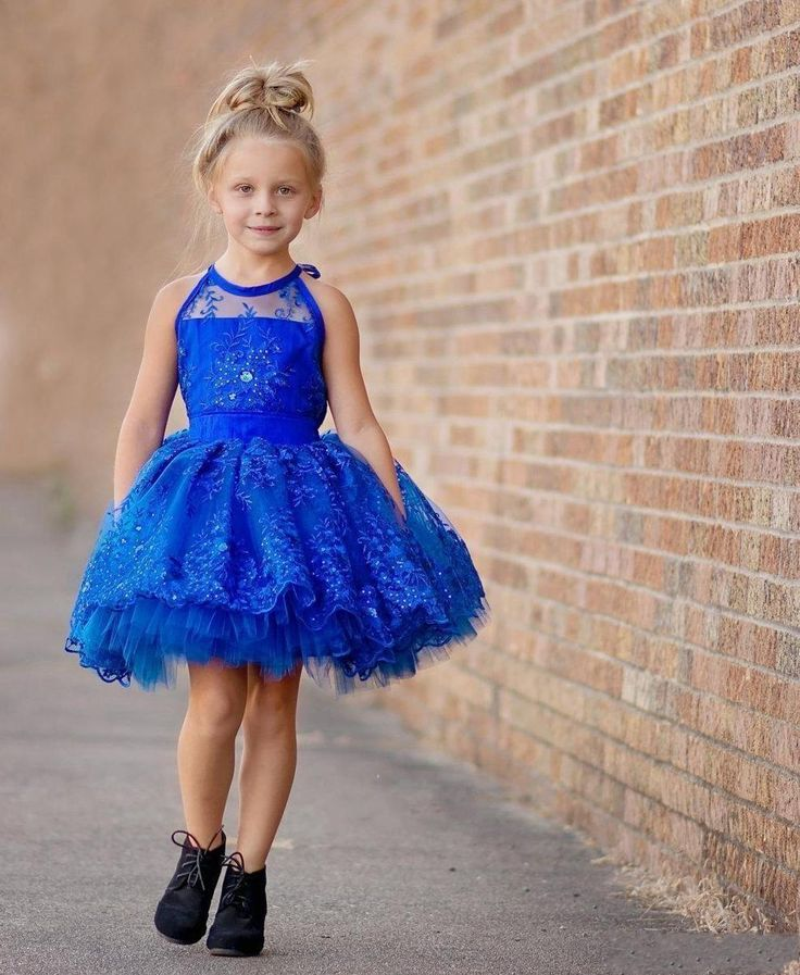 Royal Blue Lace Flower Girls Dresses for Weddings Halter Beadings Short Princess Kids Ball Gown Custom Made Baby Formal Dresses