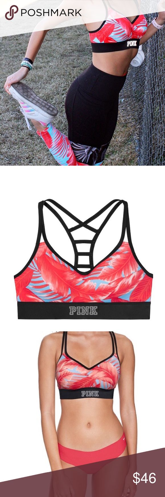 VS Pink ultimate ladder back push-up sports bra Brand new in online packaging- the VS Pink ultimate ladder back push-up sports bra in Size Medium/blue and red palm floral print🔥🔥 This push-up sports bra features a ladder back design and logo details at the bottom band. Premium 4-way stretch fabric provides support during activities.  Push-up Pull onstyle Ladder back details Iconic logo elastic bottom band  Premium 4-way stretch fabric Imported nylon/polyester/spandex  💜I have the matching…