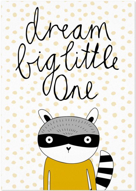 Studio Rainbow Prints - A5 Poster Dream Big Wasbeer (oker)